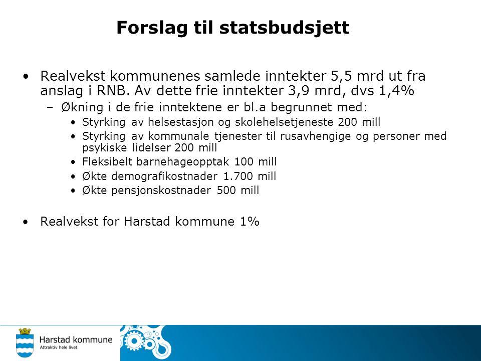 Forslag til statsbudsjett Realvekst kommunenes samlede inntekter 5,5 mrd ut fra anslag i RNB.