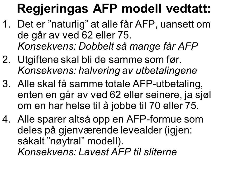 """Regjeringas AFP modell vedtatt: 1.Det er """"naturlig"""" at alle får AFP, uansett om de går av ved 62 eller 75. Konsekvens: Dobbelt så mange får AFP 2.Utgi"""