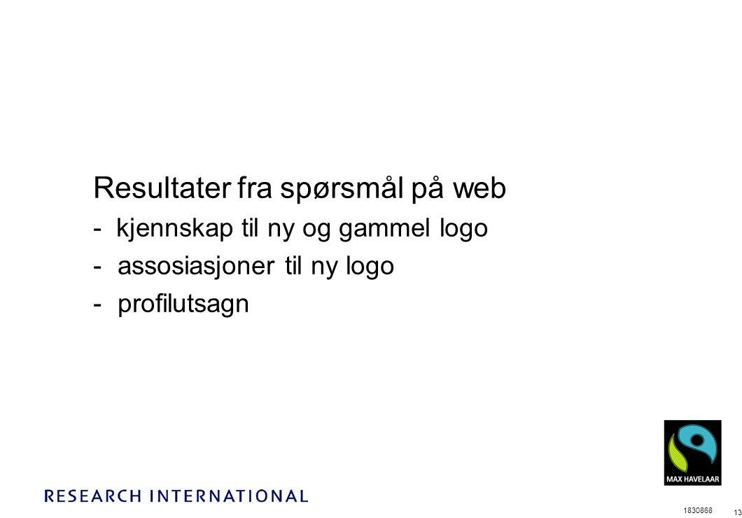 1830868 13 Resultater fra spørsmål på web - kjennskap til ny og gammel logo -assosiasjoner til ny logo -profilutsagn