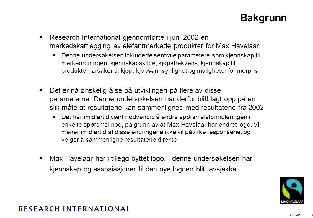 1830868 2 Bakgrunn  Research International gjennomførte i juni 2002 en markedskartlegging av elefantmerkede produkter for Max Havelaar  Denne undersøkelsen inkluderte sentrale parametere som kjennskap til merkeordningen, kjennskapskilde, kjøpsfrekvens, kjennskap til produkter, årsaker til kjøp, kjøpsannsynlighet og muligheter for merpris  Det er nå ønskelig å se på utviklingen på flere av disse parameterne.