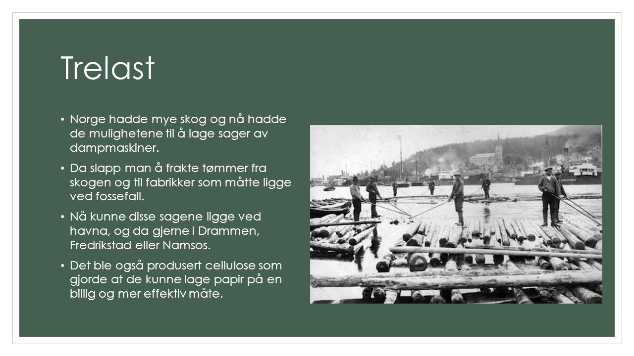 Trelast Norge hadde mye skog og nå hadde de mulighetene til å lage sager av dampmaskiner. Da slapp man å frakte tømmer fra skogen og til fabrikker som