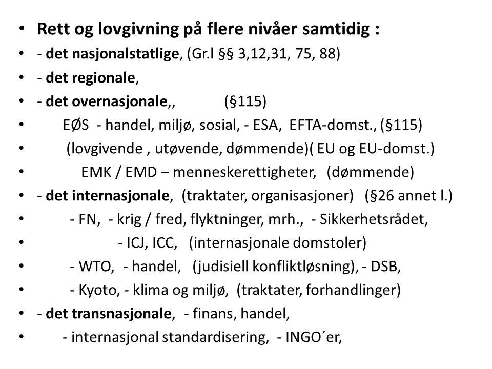 Rett og lovgivning på flere nivåer samtidig : - det nasjonalstatlige, (Gr.l §§ 3,12,31, 75, 88) - det regionale, - det overnasjonale,, (§115) EØS - handel, miljø, sosial, - ESA, EFTA-domst., (§115) (lovgivende, utøvende, dømmende)( EU og EU-domst.) EMK / EMD – menneskerettigheter, (dømmende) - det internasjonale, (traktater, organisasjoner) (§26 annet l.) - FN, - krig / fred, flyktninger, mrh., - Sikkerhetsrådet, - ICJ, ICC, (internasjonale domstoler) - WTO, - handel, (judisiell konfliktløsning), - DSB, - Kyoto, - klima og miljø, (traktater, forhandlinger) - det transnasjonale, - finans, handel, - internasjonal standardisering, - INGO´er,