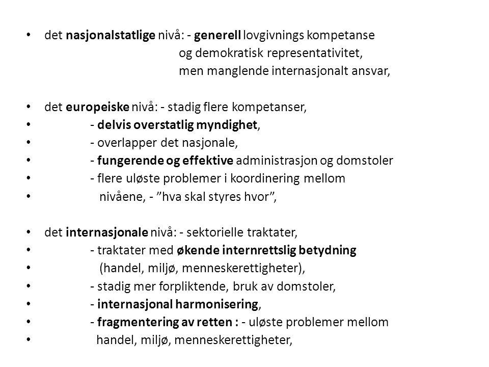 det nasjonalstatlige nivå: - generell lovgivnings kompetanse og demokratisk representativitet, men manglende internasjonalt ansvar, det europeiske nivå: - stadig flere kompetanser, - delvis overstatlig myndighet, - overlapper det nasjonale, - fungerende og effektive administrasjon og domstoler - flere uløste problemer i koordinering mellom nivåene, - hva skal styres hvor , det internasjonale nivå: - sektorielle traktater, - traktater med økende internrettslig betydning (handel, miljø, menneskerettigheter), - stadig mer forpliktende, bruk av domstoler, - internasjonal harmonisering, - fragmentering av retten : - uløste problemer mellom handel, miljø, menneskerettigheter,
