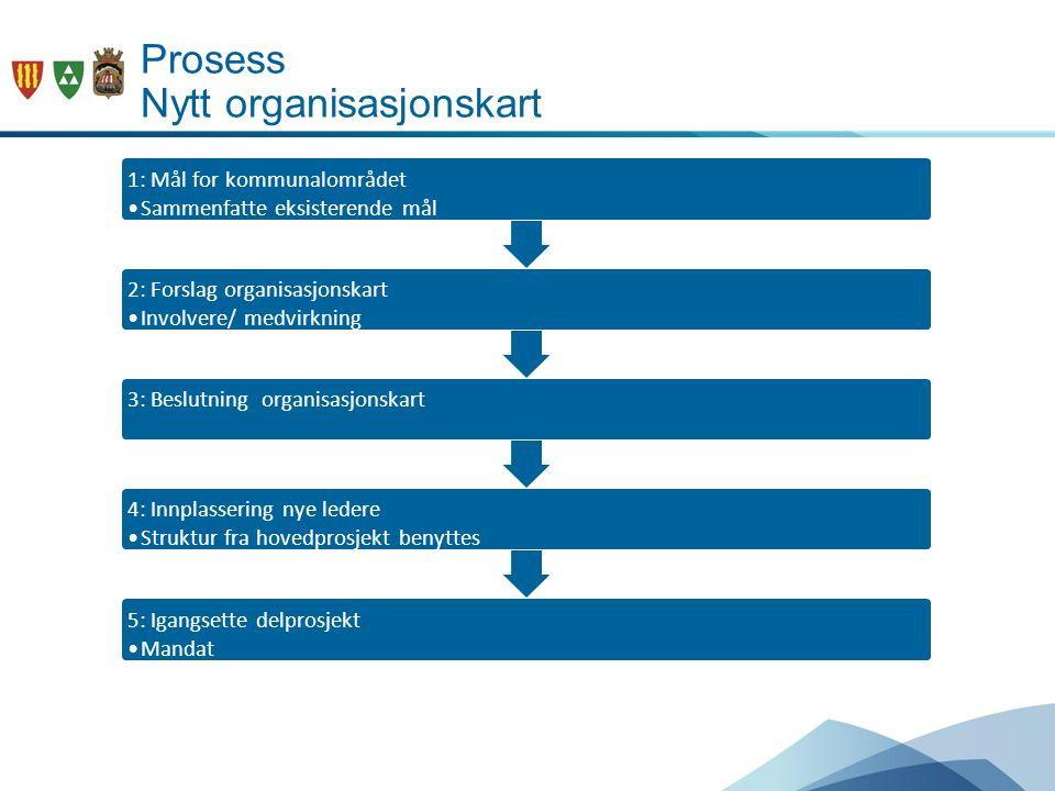 Prosess Nytt organisasjonskart 1: Mål for kommunalområdet Sammenfatte eksisterende mål Utarbeide en målstruktur 2: Forslag organisasjonskart Involvere