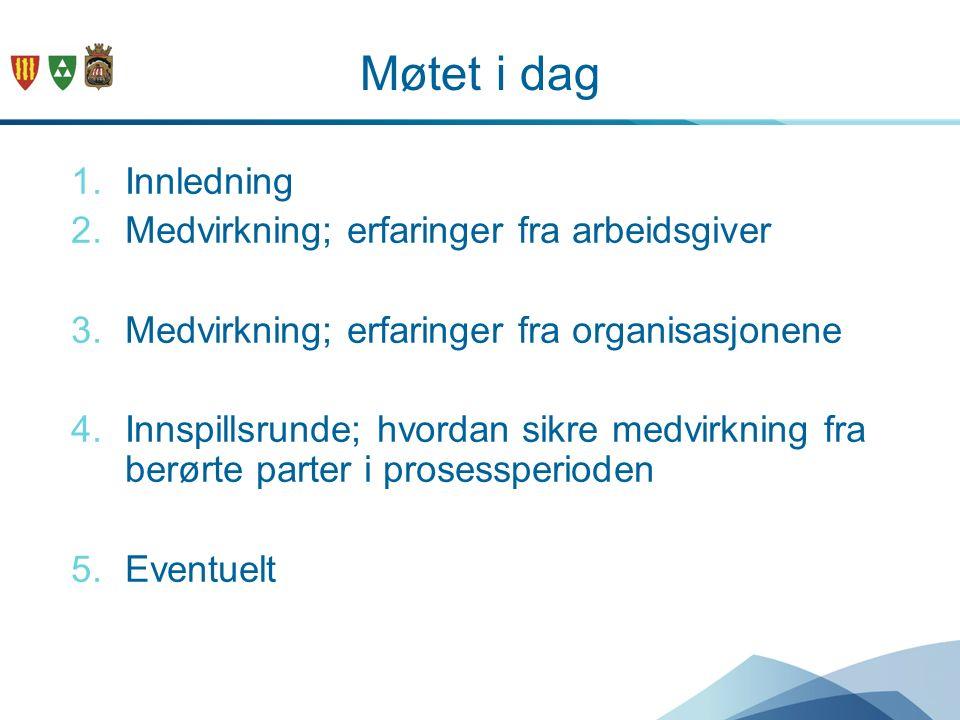 Møtet i dag 1.Innledning 2.Medvirkning; erfaringer fra arbeidsgiver 3.Medvirkning; erfaringer fra organisasjonene 4.Innspillsrunde; hvordan sikre medv