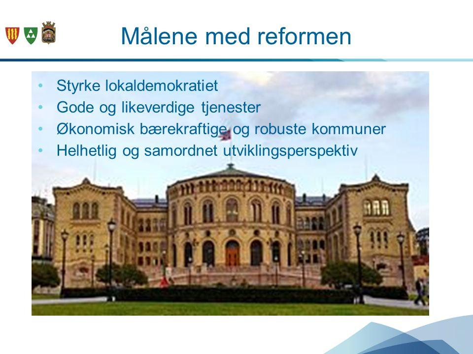 Målene med reformen Styrke lokaldemokratiet Gode og likeverdige tjenester Økonomisk bærekraftige og robuste kommuner Helhetlig og samordnet utviklings