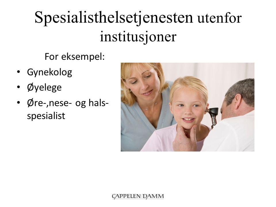 Spesialisthelsetjenesten utenfor institusjoner For eksempel: Gynekolog Øyelege Øre-,nese- og hals- spesialist