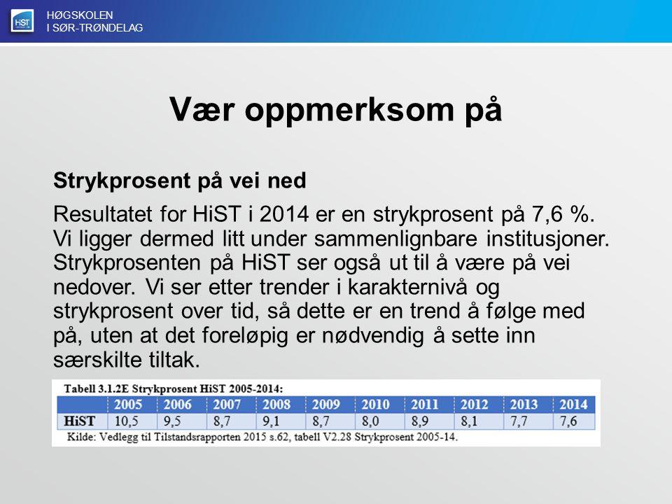 HØGSKOLEN I SØR-TRØNDELAG Vær oppmerksom på Strykprosent på vei ned Resultatet for HiST i 2014 er en strykprosent på 7,6 %.