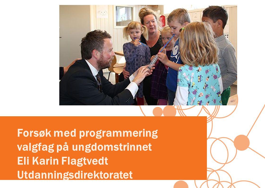 Forsøk med programmering valgfag på ungdomstrinnet Eli Karin Flagtvedt Utdanningsdirektoratet
