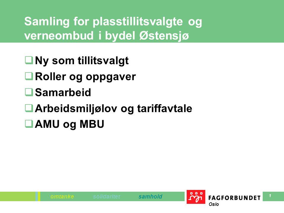 omtanke solidaritet samhold Oslo 1 Samling for plasstillitsvalgte og verneombud i bydel Østensjø  Ny som tillitsvalgt  Roller og oppgaver  Samarbeid  Arbeidsmiljølov og tariffavtale  AMU og MBU