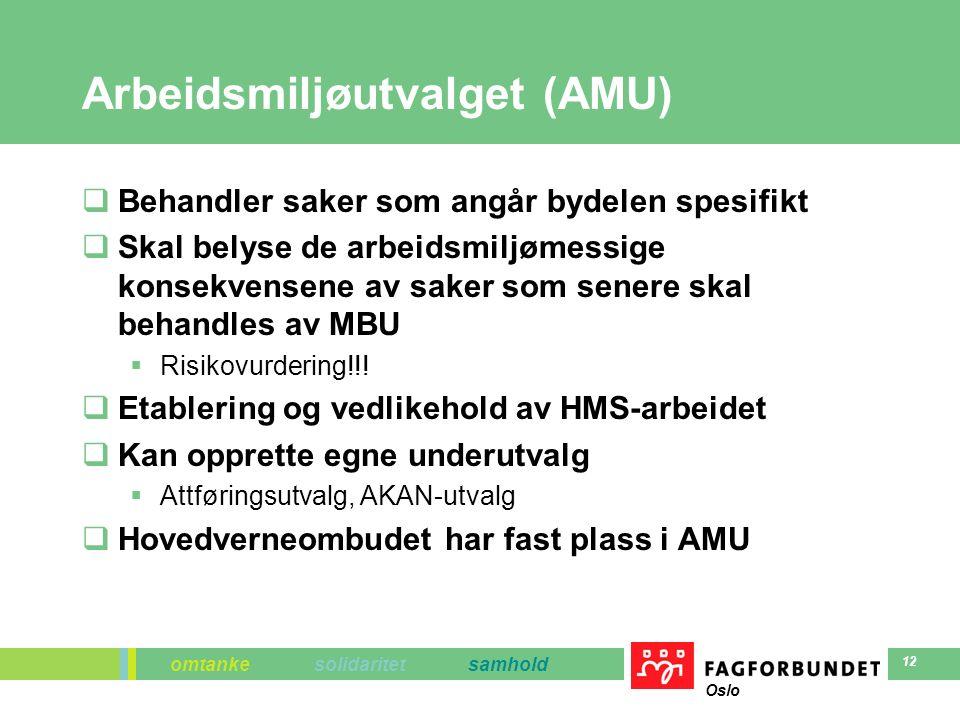 omtanke solidaritet samhold Oslo 12 Arbeidsmiljøutvalget (AMU)  Behandler saker som angår bydelen spesifikt  Skal belyse de arbeidsmiljømessige konsekvensene av saker som senere skal behandles av MBU  Risikovurdering!!.