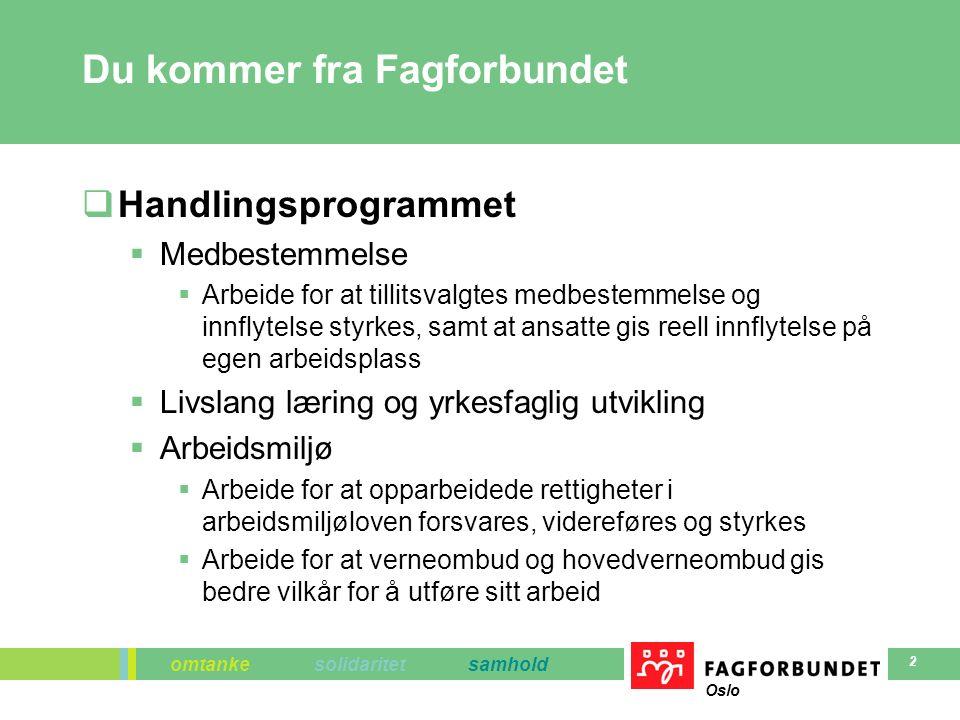 omtanke solidaritet samhold Oslo 2 Du kommer fra Fagforbundet  Handlingsprogrammet  Medbestemmelse  Arbeide for at tillitsvalgtes medbestemmelse og