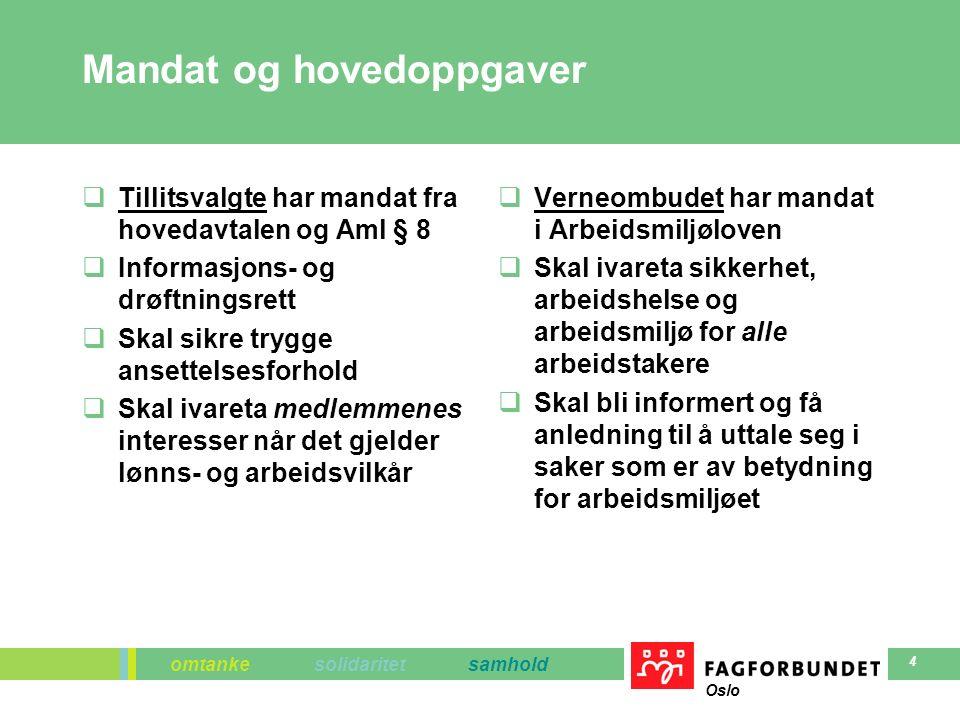 omtanke solidaritet samhold Oslo 4 Mandat og hovedoppgaver  Tillitsvalgte har mandat fra hovedavtalen og Aml § 8  Informasjons- og drøftningsrett 
