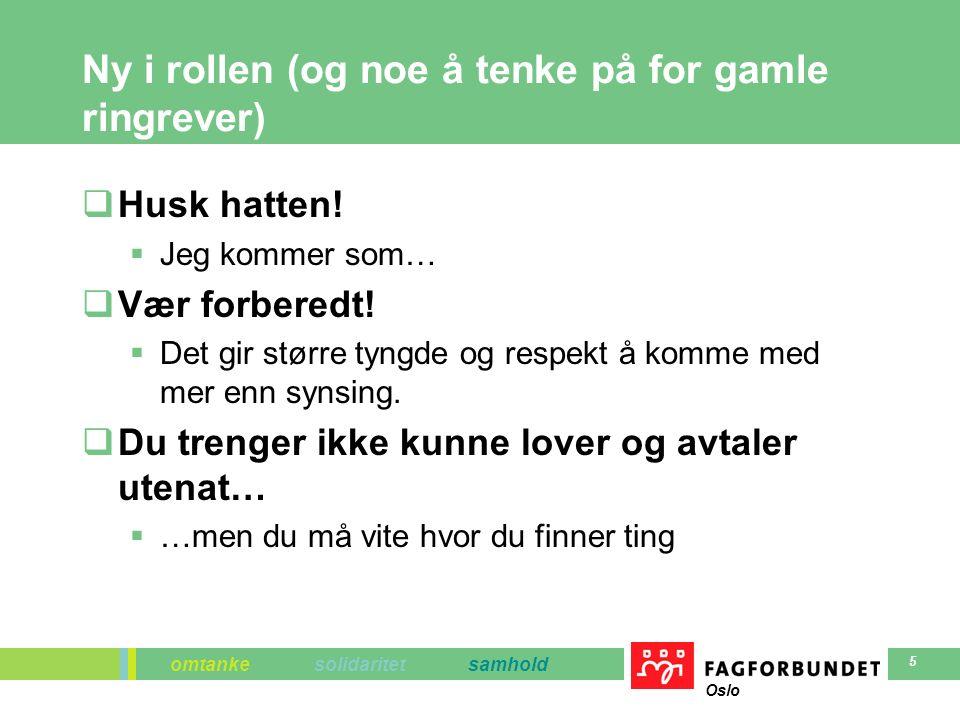omtanke solidaritet samhold Oslo 5 Ny i rollen (og noe å tenke på for gamle ringrever)  Husk hatten.