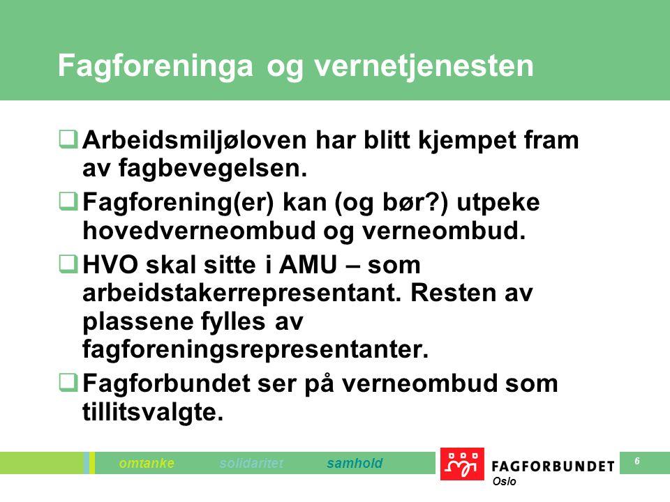 omtanke solidaritet samhold Oslo 6 Fagforeninga og vernetjenesten  Arbeidsmiljøloven har blitt kjempet fram av fagbevegelsen.  Fagforening(er) kan (