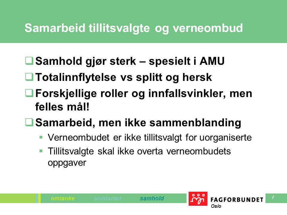 omtanke solidaritet samhold Oslo 7 Samarbeid tillitsvalgte og verneombud  Samhold gjør sterk – spesielt i AMU  Totalinnflytelse vs splitt og hersk  Forskjellige roller og innfallsvinkler, men felles mål.