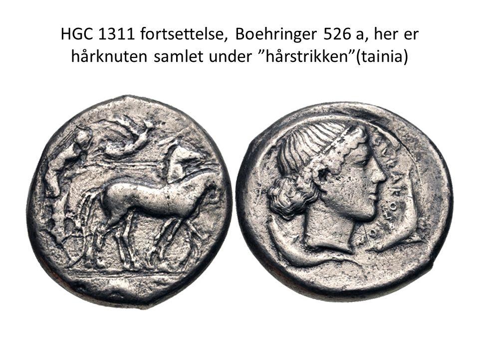 """HGC 1311 fortsettelse, Boehringer 526 a, her er hårknuten samlet under """"hårstrikken""""(tainia)"""