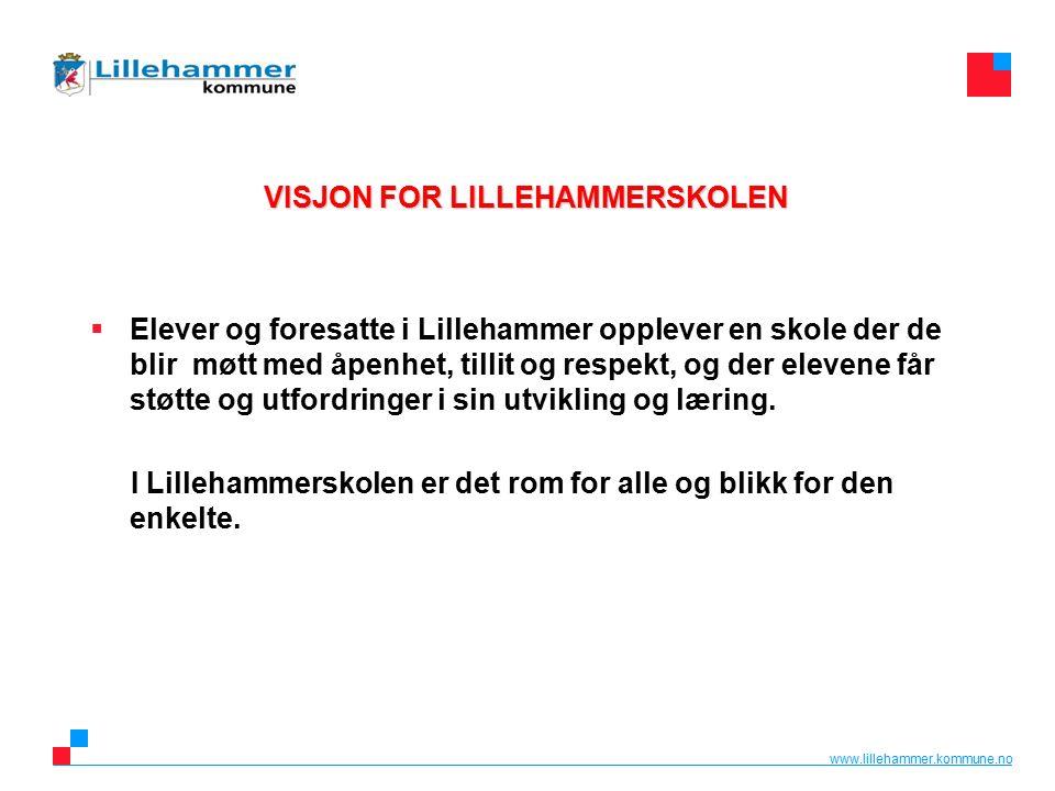 www.lillehammer.kommune.no VISJON FOR LILLEHAMMERSKOLEN  Elever og foresatte i Lillehammer opplever en skole der de blir møtt med åpenhet, tillit og respekt, og der elevene får støtte og utfordringer i sin utvikling og læring.