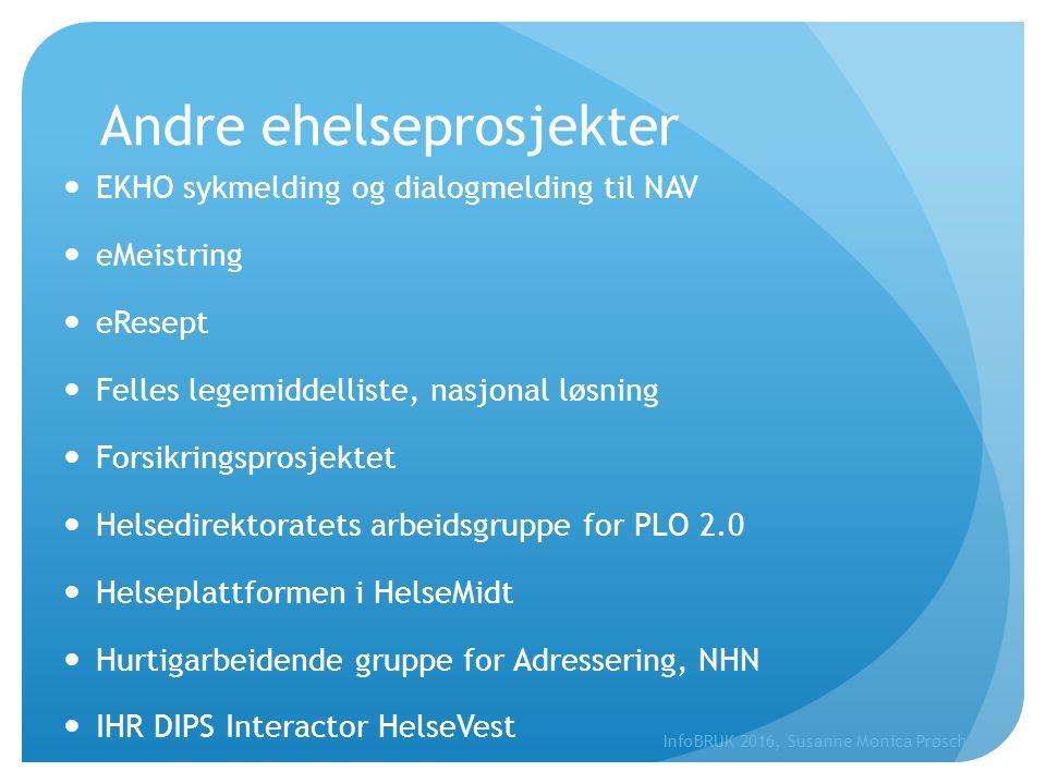 Andre ehelseprosjekter EKHO sykmelding og dialogmelding til NAV eMeistring eResept Felles legemiddelliste, nasjonal løsning Forsikringsprosjektet Hels