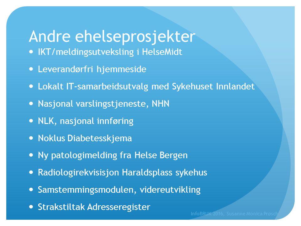Andre ehelseprosjekter IKT/meldingsutveksling i HelseMidt Leverandørfri hjemmeside Lokalt IT-samarbeidsutvalg med Sykehuset Innlandet Nasjonal varslin