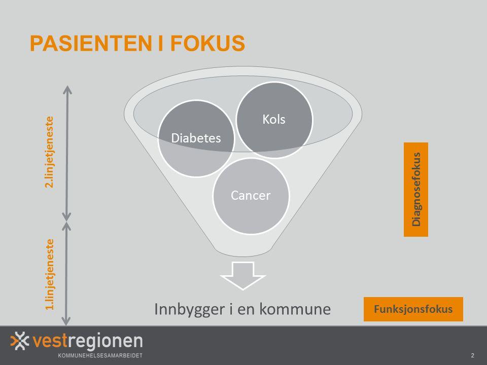 2 PASIENTEN I FOKUS Innbygger i en kommune CancerDiabetesKols Diagnosefokus Funksjonsfokus 2.linjetjeneste 1.linjetjeneste