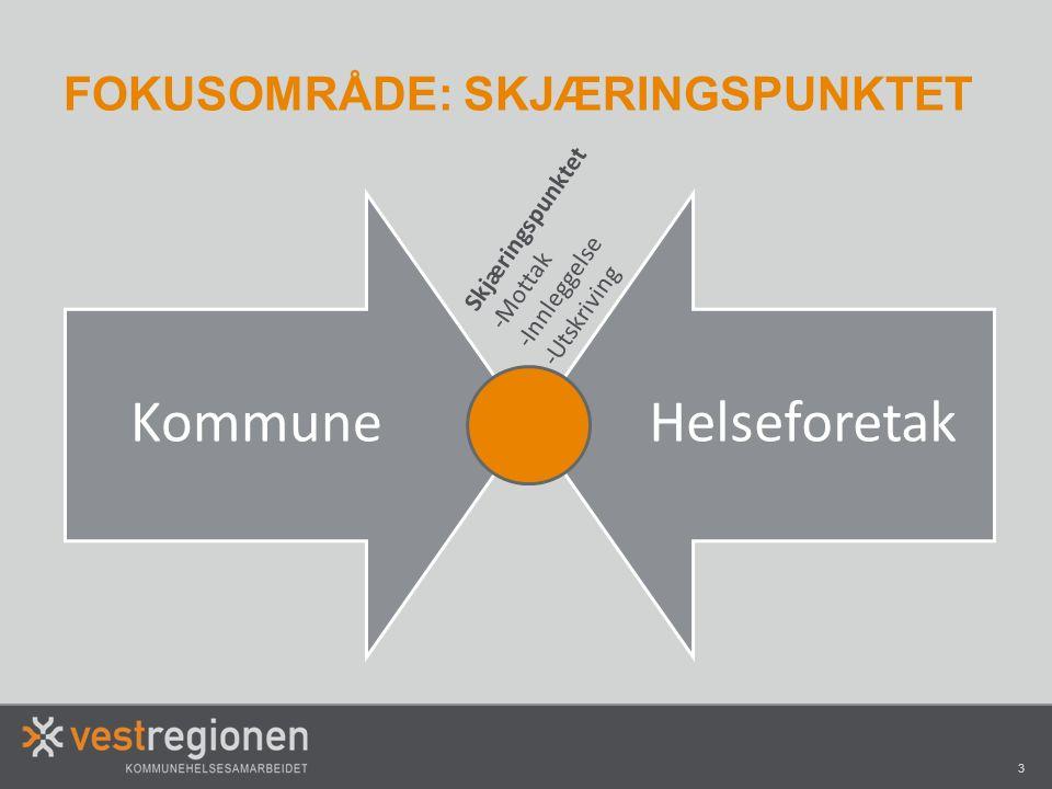 3 KommuneHelseforetak FOKUSOMRÅDE: SKJÆRINGSPUNKTET Skjæringspunktet -Mottak -Innleggelse -Utskriving
