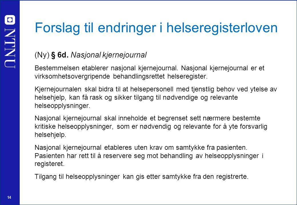 14 Forslag til endringer i helseregisterloven (Ny) § 6d.