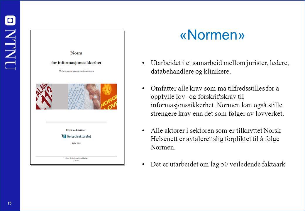 15 «Normen» Utarbeidet i et samarbeid mellom jurister, ledere, databehandlere og klinikere.