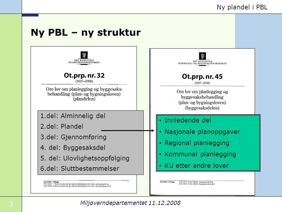 3 Miljøverndepartementet 11.12.2008 Ny plandel i PBL Ny PBL – ny struktur 1.del: Alminnelig del 2.del: Plandel 3.del: Gjennomføring 4.