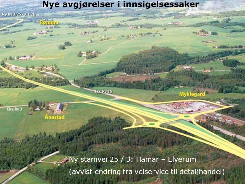 30 Miljøverndepartementet 11.12.2008 Ny plandel i PBL Nye avgjørelser i innsigelsessaker Ny stamvei 25 / 3: Hamar – Elverum (avvist endring fra veiservice til detaljhandel)