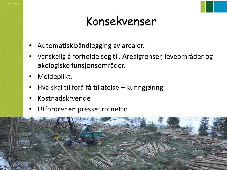 Konsekvenser Automatisk båndlegging av arealer. Vanskelig å forholde seg til. Arealgrenser, leveområder og økologiske funsjonsområder. Meldeplikt. Hva