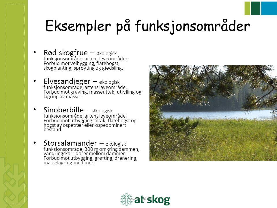 Eksempler på funksjonsområder Rød skogfrue – økologisk funksjonsområde; artens leveområder. Forbud mot veibygging, flatehogst, skogplanting, sprøyting