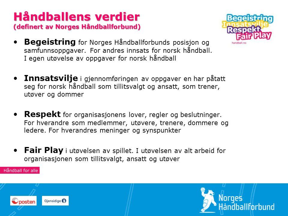 4 44 Håndballens verdier (definert av Norges Håndballforbund) Begeistring for Norges Håndballforbunds posisjon og samfunnsoppgaver.