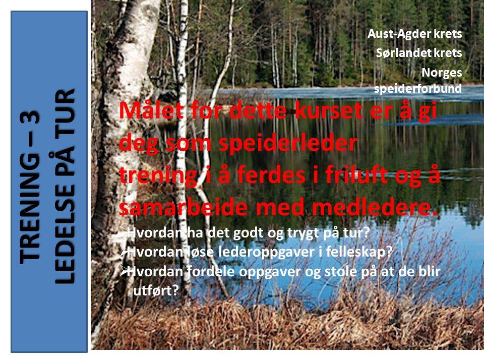 TRENING – 3 LEDELSE PÅ TUR Aust-Agder krets Sørlandet krets Norges speiderforbund Målet for dette kurset er å gi deg som speiderleder trening i å ferdes i friluft og å samarbeide med medledere.