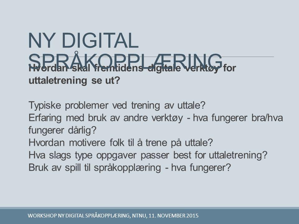 Hvordan skal fremtidens digitale verktøy for uttaletrening se ut? Typiske problemer ved trening av uttale? Erfaring med bruk av andre verktøy - hva fu
