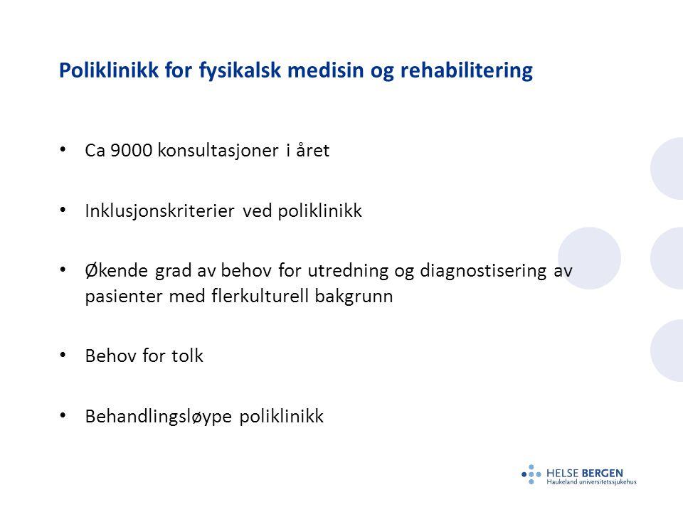 Poliklinikk for fysikalsk medisin og rehabilitering Ca 9000 konsultasjoner i året Inklusjonskriterier ved poliklinikk Økende grad av behov for utredni