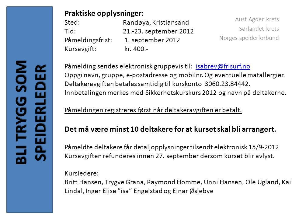 BLI TRYGG SOM SPEIDERLEDER Aust-Agder krets Sørlandet krets Norges speiderforbund Praktiske opplysninger: Sted: Randøya, Kristiansand Tid: 21.-23.