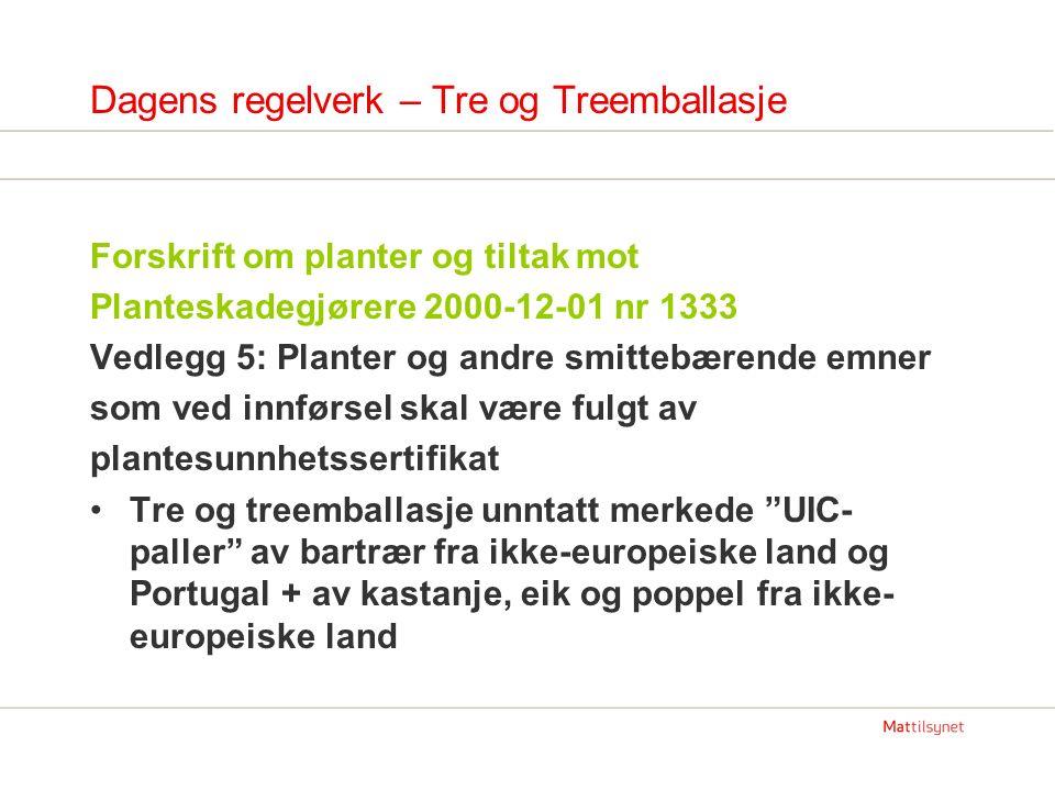 Dagens regelverk – Tre og Treemballasje Forskrift om planter og tiltak mot Planteskadegjørere 2000-12-01 nr 1333 Vedlegg 5: Planter og andre smittebærende emner som ved innførsel skal være fulgt av plantesunnhetssertifikat Tre og treemballasje unntatt merkede UIC- paller av bartrær fra ikke-europeiske land og Portugal + av kastanje, eik og poppel fra ikke- europeiske land