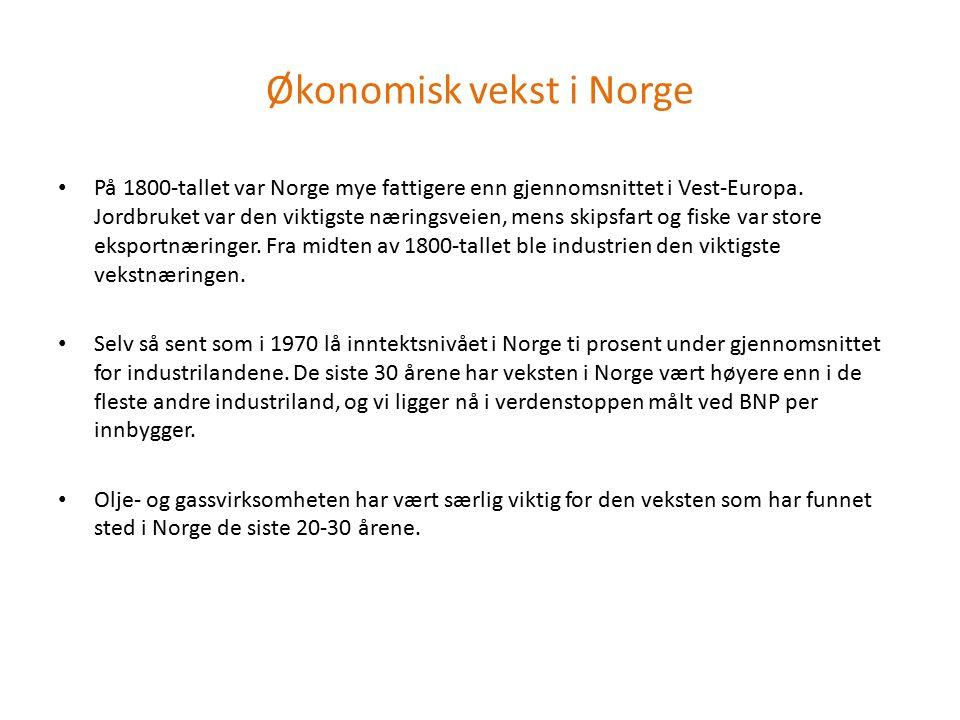 Økonomisk vekst i Norge På 1800-tallet var Norge mye fattigere enn gjennomsnittet i Vest-Europa. Jordbruket var den viktigste næringsveien, mens skips