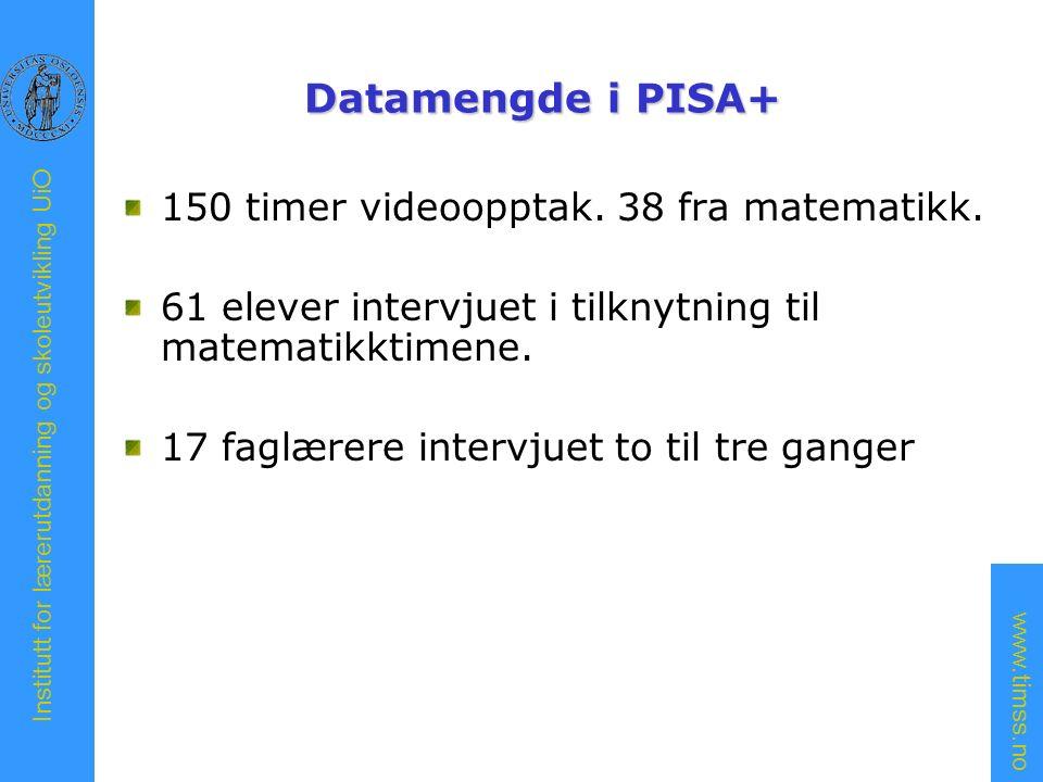 www.timss.no Institutt for lærerutdanning og skoleutvikling UiO Datamengde i PISA+ 150 timer videoopptak.