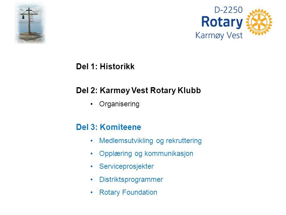 Del 1: Historikk Del 2: Karmøy Vest Rotary Klubb Organisering Del 3: Komiteene Medlemsutvikling og rekruttering Opplæring og kommunikasjon Serviceprosjekter Distriktsprogrammer Rotary Foundation