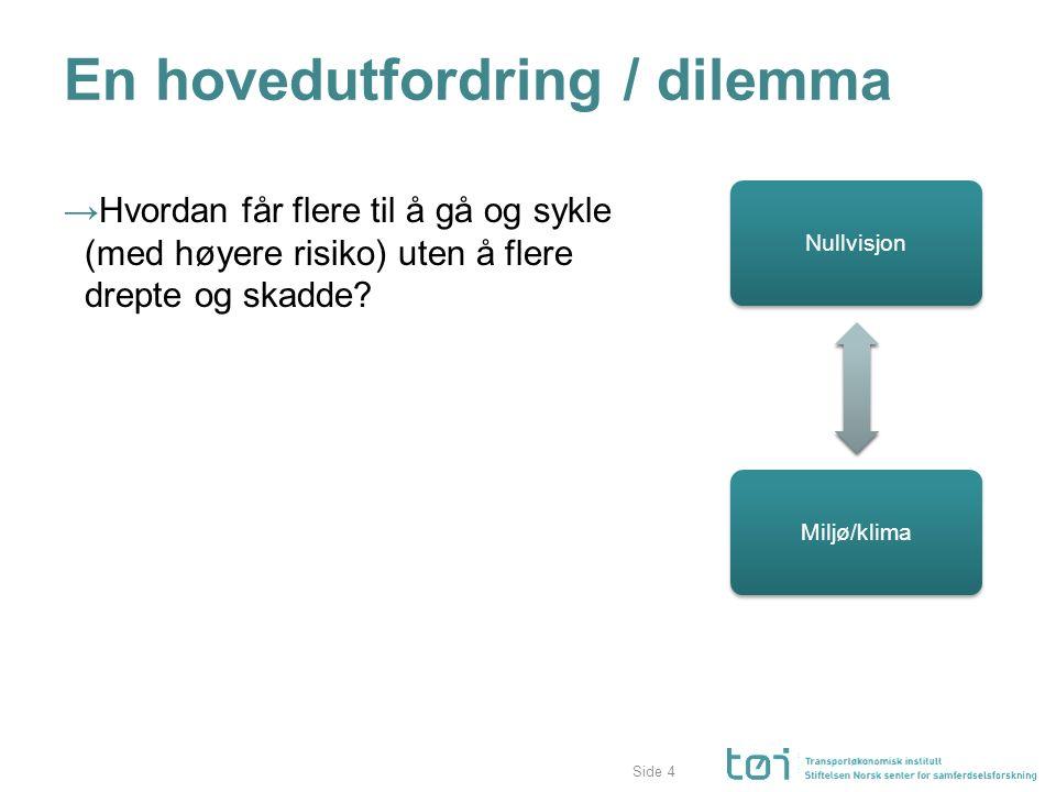 Side En hovedutfordring / dilemma →Hvordan får flere til å gå og sykle (med høyere risiko) uten å flere drepte og skadde.