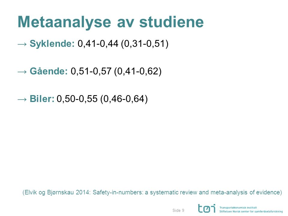 Side Metaanalyse av studiene → Syklende: 0,41-0,44 (0,31-0,51) → Gående: 0,51-0,57 (0,41-0,62) → Biler: 0,50-0,55 (0,46-0,64) (Elvik og Bjørnskau 2014: Safety-in-numbers: a systematic review and meta-analysis of evidence) 9