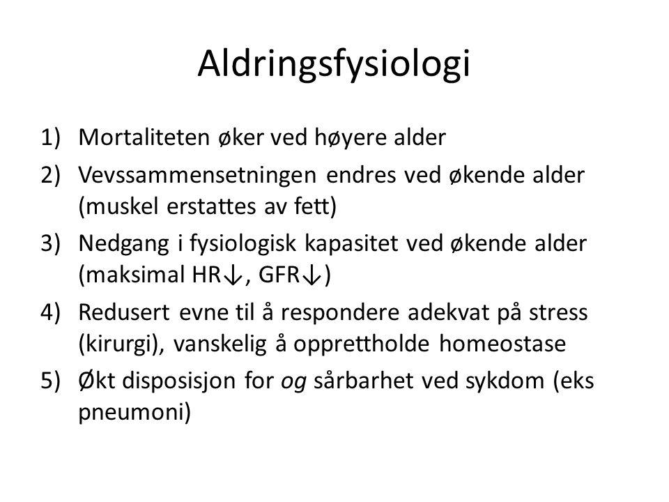 Aldringsfysiologi 1)Mortaliteten øker ved høyere alder 2)Vevssammensetningen endres ved økende alder (muskel erstattes av fett) 3)Nedgang i fysiologisk kapasitet ved økende alder (maksimal HR↓, GFR↓) 4)Redusert evne til å respondere adekvat på stress (kirurgi), vanskelig å opprettholde homeostase 5)Økt disposisjon for og sårbarhet ved sykdom (eks pneumoni)
