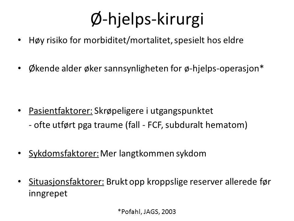 Ø-hjelps-kirurgi Høy risiko for morbiditet/mortalitet, spesielt hos eldre Økende alder øker sannsynligheten for ø-hjelps-operasjon* Pasientfaktorer: Skrøpeligere i utgangspunktet - ofte utført pga traume (fall - FCF, subduralt hematom) Sykdomsfaktorer: Mer langtkommen sykdom Situasjonsfaktorer: Brukt opp kroppslige reserver allerede før inngrepet *Pofahl, JAGS, 2003