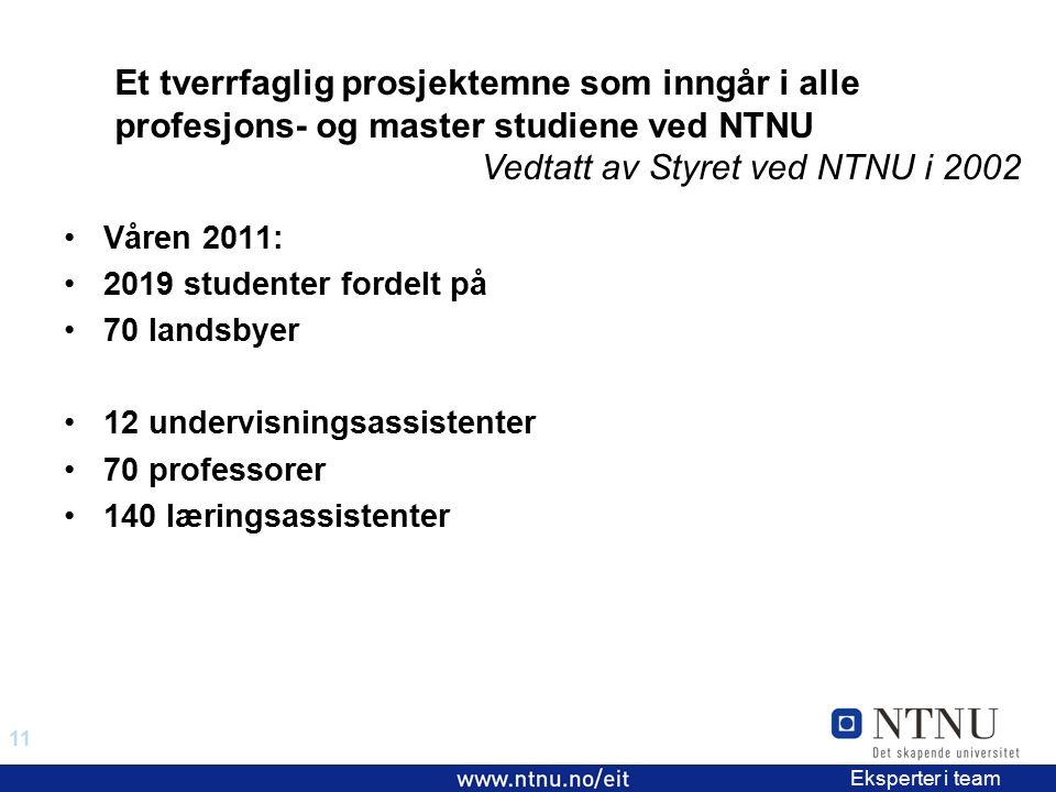 11 EiT 2006/2007 Eksperter i team Våren 2011: 2019 studenter fordelt på 70 landsbyer 12 undervisningsassistenter 70 professorer 140 læringsassistenter