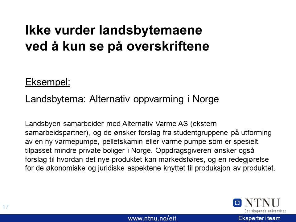 17 EiT 2006/2007 Eksperter i team Eksempel: Landsbytema: Alternativ oppvarming i Norge Ikke vurder landsbytemaene ved å kun se på overskriftene Landsb