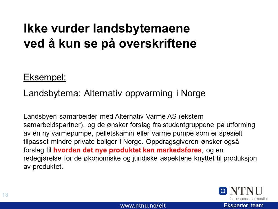 18 EiT 2006/2007 Eksperter i team Eksempel: Landsbytema: Alternativ oppvarming i Norge Ikke vurder landsbytemaene ved å kun se på overskriftene Landsb