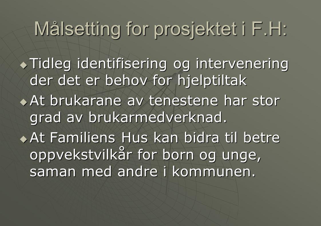 Målsetting for prosjektet i F.H:  Tidleg identifisering og intervenering der det er behov for hjelptiltak  At brukarane av tenestene har stor grad av brukarmedverknad.