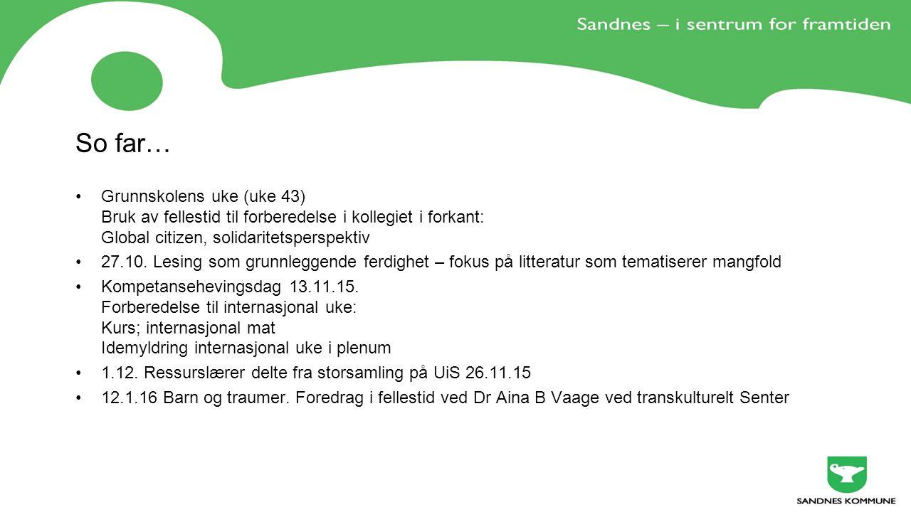 So far… Grunnskolens uke (uke 43) Bruk av fellestid til forberedelse i kollegiet i forkant: Global citizen, solidaritetsperspektiv 27.10.